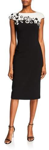 Theia Colorblock Boat-Neck Cap-Sleeve Dress with Neoprene Flower Detail