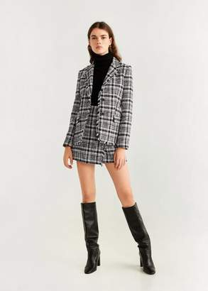 MANGO Tweed check blazer black - 2 - Women