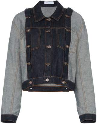 Delada detachable sleeve cropped denim jacket