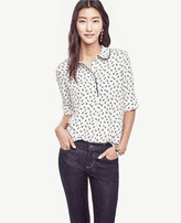 Ann Taylor Petite Droplet Collared Mixed Media Top