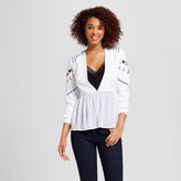 XOXO Women's Embellished Peplum Illusion Blazer Jacket Juniors') White