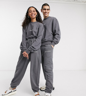 Collusion Unisex oversized joggers with spliced reverse fabric in charcoal