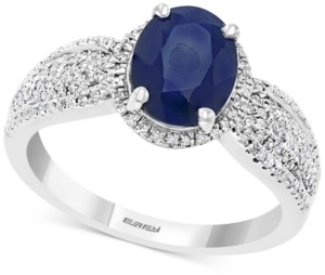 Effy Sapphire (3/8 ct. t.w.) & Diamond (3/8 ct. t.w.) Statement Ring in Sterling Silver