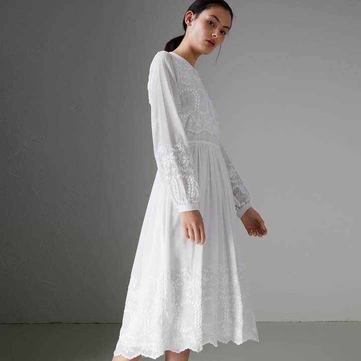 Burberry Embroidered Cotton Silk Voile Dress
