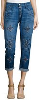 Current/Elliott The Fling Cropped Jeans W/Embroidery, Blue
