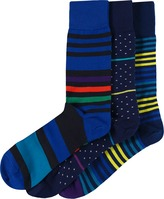 Three Pack Of Patterned Socks