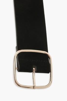 boohoo Suedette Square Buckle Waist Belt