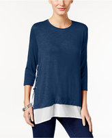 Style&Co. Style & Co. Layered-Look Lace-Up Top, Only at Macy's
