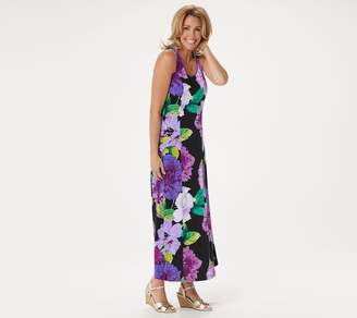 Susan Graver Regular Printed Liquid Knit Maxi Dress