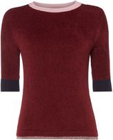 Max Mara Weekend Betta Knitted Tee With Boarder Crew Neck