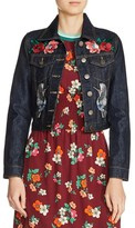 Maje Women's Embroidered Raw Denim Jacket