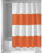 InterDesign Mildew-Free Water-Repellent Zeno Fabric Shower Curtain, 72-Inch by 72-Inch, Orange/White