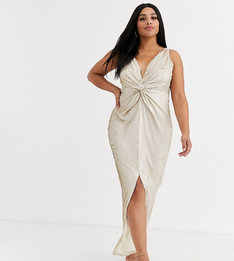 Little Mistress Plus wrap front sequin maxi dress in cream and gold