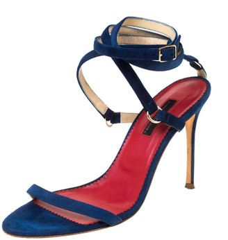 Carolina Herrera Navy Blue Strappy Suede Ankle Wrap Sandals Size 39