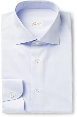 Brioni Cutaway-Collar Pinstriped Cotton-Poplin Shirt
