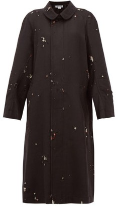 Comme des Garcons Single-breasted Distressed Wool-twill Coat - Womens - Black Multi