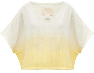 Anaak Kai V-neck Dip-dyed Cotton Top - Yellow Multi