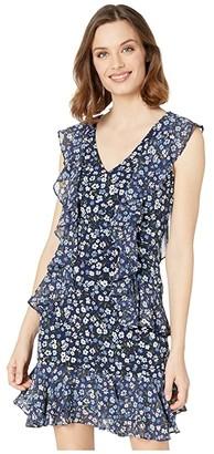 MICHAEL Michael Kors Garden Patch Cascade Dress (Chambray) Women's Dress