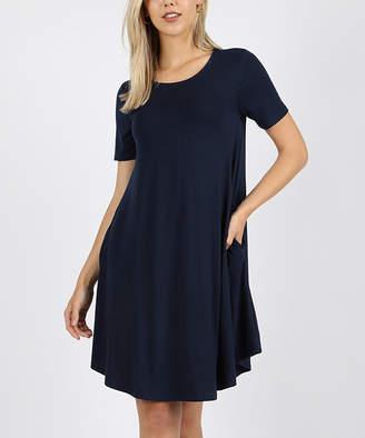 Lydiane Women's Casual Dresses MIDNIGHTNAVY - Midnight Navy Crewneck Short-Sleeve Curved-Hem Pocket Tunic Dress - Women