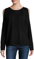 Neiman Marcus Cashmere-Blend Cold-Shoulder Sweater, Onyx