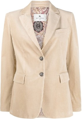 Etro Single Breasted Corduroy Blazer