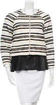 Thakoon Leather-Accented Striped Jacket w/ Tags