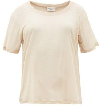 Saint Laurent Sheer Cotton-jersey T-shirt - Nude