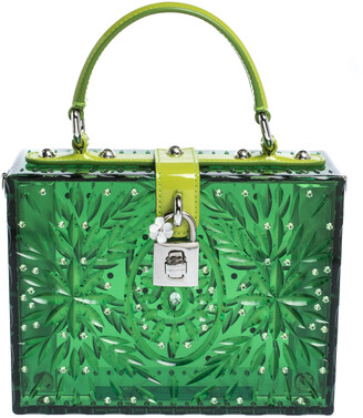 Dolce & Gabbana Green Acrylic and Patent Leather Cinderella Dolce Box Top Handle Bag