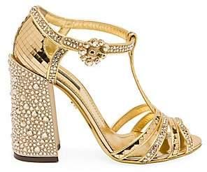 Dolce & Gabbana Women's Embellished Peep-Toe T-Strap Sandals