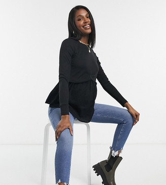 New Look Maternity 2-in-1 jumper with undershirt detail in black