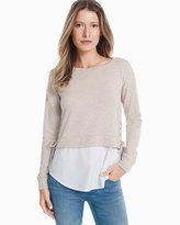 White House Black Market Long Sleeve Lace Up Sweatshirt and Poplin Twofer