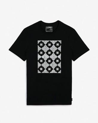 Express Black Geometric Graphic T-Shirt