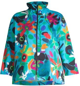 Caroline Rose, Plus Size Bright & Breezy Stretch-Cotton Zip Jacket