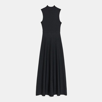 Theory Mock Neck Dress in Ribbed Knit