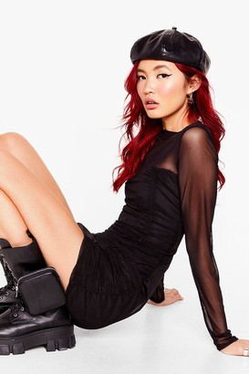 Nasty Gal Womens Ruched mesh sheer panel bodycon mini dress - Black - 4, Black