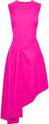 Oscar de la Renta Asymmetric Neon Wool-blend Dress