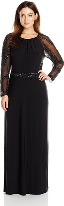 Marina Women's Plus-Size Gown with Beaded Strips on Waistband and Back Key Hole