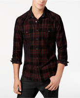GUESS Men's Corduroy Western Plaid Shirt