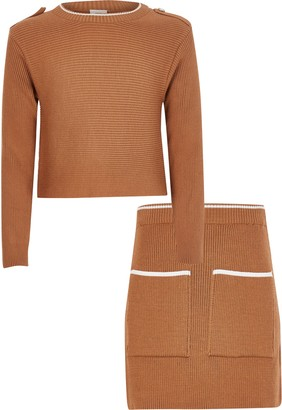 River Island Girls Brown rib knitted jumper outfit