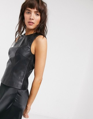 Weekday Alina faux leather fitted tank top in black