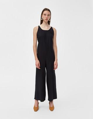 Base Range Women's Otay Raw Silk Jumpsuit in Black, Size Small