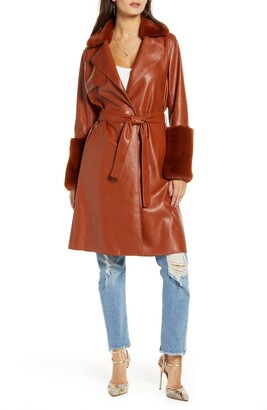 Blank NYC BLANKNYC Faux Leather Coat with Faux Fur Trim