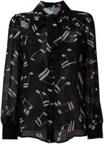 Saint Laurent musical note printed shirt - women - Silk - 38