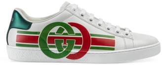 Gucci New Ace Logo Leather Sneakers