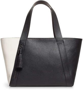 Akris Alexa Small Two-Tone Leather Tote Bag with Tassel