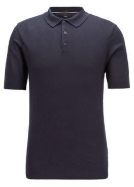 HUGO BOSS Short Sleeved Sweater In Silk With Polo Collar - Dark Blue