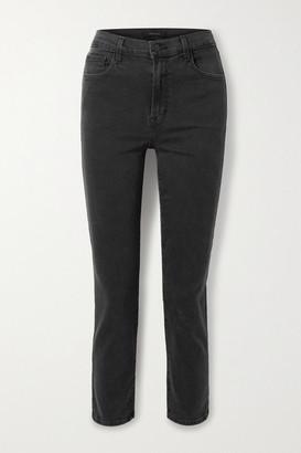 J Brand Alma Cropped High-rise Straight-leg Jeans - Dark gray