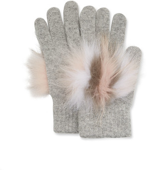 Yves Solomon Knit Gloves w/ Fox Fur Trim