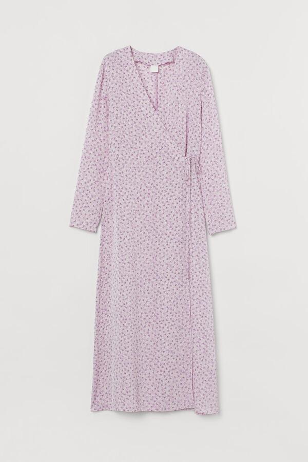 H&M - Calf-length Wrap Dress - Purple