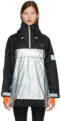 adidas by Stella McCartney Silver and Black Stella McCartney Collection Pull-On Jacket